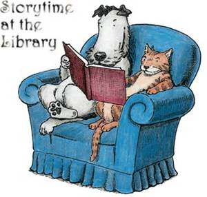 storytime at the library cat dog
